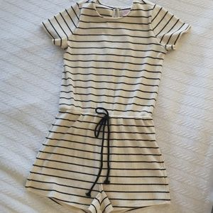 Pink lily striped romper